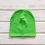 Шапка бини трикотажная двухслойная одноцветная, зеленый