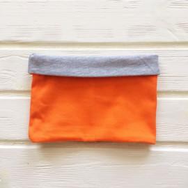 """Снуд """"труба"""" двусторонний двухцветный, оранжевый/серый меланж"""
