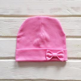 Шапка двухслойная с бантиком на подвороте, розовый