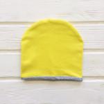 Шапка двухслойная с кантом, желтый