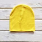 Шапка бини трикотажная двухслойная одноцветная, желтый