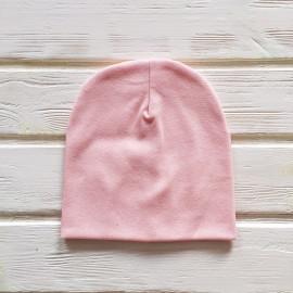 Шапка бини трикотажная двухслойная одноцветная, светло-розовый