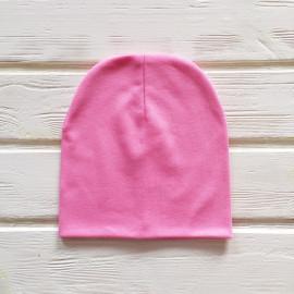 Шапка бини трикотажная двухслойная одноцветная, розовый