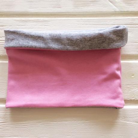 "Снуд ""труба"" двусторонний двухцветный, розовый/серый меланж"