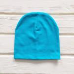 Шапка бини трикотажная двухслойная одноцветная, голубой