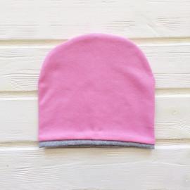 Шапка двухслойная с кантом, розовый