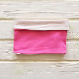 """Снуд """"труба"""" двусторонний двухцветный, розовый/белый"""