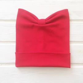 Шапка-бант двухслойная одноцветная с подворотом, красный