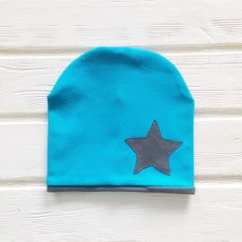 Шапка двухслойная с кантом и звездой, голубой