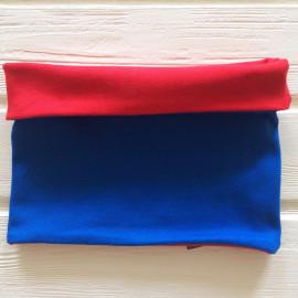 """Снуд """"труба"""" двусторонний двухцветный, красный/синий"""
