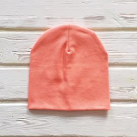 Шапка бини трикотажная двухслойная одноцветная, персиковый