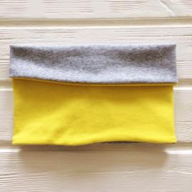 """Снуд """"труба"""" двусторонний двухцветный, желтый/серый меланж"""