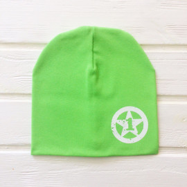 Шапка двухслойная с цифрой, зеленый
