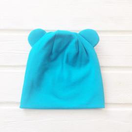 """Шапка двухслойная с подворотом, ушками """"Мишка"""", голубой"""