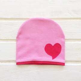 Шапка двухслойная с кантом и сердечком, розовый
