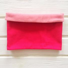 """Снуд """"труба"""" двусторонний двухцветный с флисом, фуксия/розовый"""