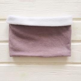 """Снуд """"труба"""" двусторонний двухцветный вязанный трикотаж с флисом, пыльно-розовый/белый"""
