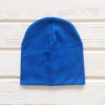 Шапка бини трикотажная двухслойная одноцветная, синий