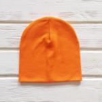 Шапка бини трикотажная двухслойная одноцветная, оранжевый