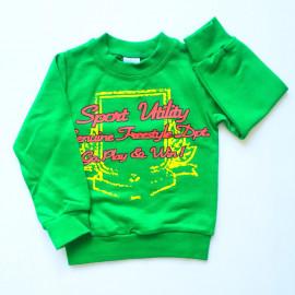 Лонгслив для мальчика Надписи, зеленый