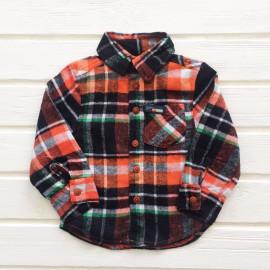 Рубашка для мальчика в клетку из фланели, оранжевый