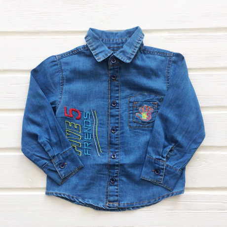 Рубашка для мальчика джинсовая, голубой