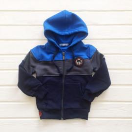Толстовка для мальчиков с капюшоном, голубой/темно-синий