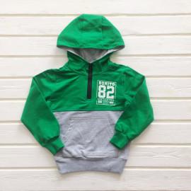 Толстовка для мальчиков с капюшоном, зеленый/серый