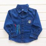 Рубашка для мальчика джинсовая, синий