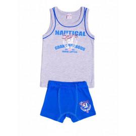 Комплект для мальчика (майка + боксеры), серый меланж