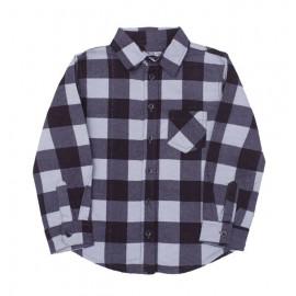 Рубашка для мальчика в клетку, серый