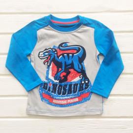 Лонгслив для мальчиков Динозавр, голубой