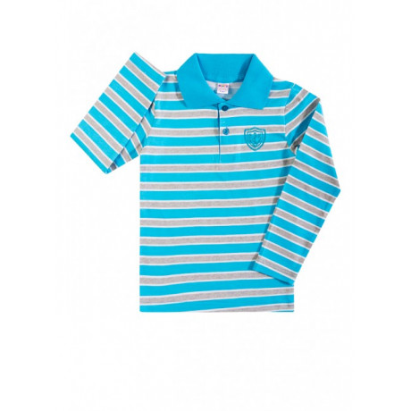 Рубашка поло для мальчика Полоска, бирюзовый
