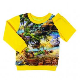 Лонгслив для мальчика Пиратские сокровища, желтый