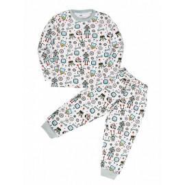 Пижама для мальчика теплая Роботы, белый
