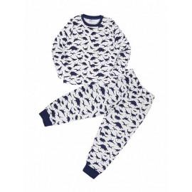 Пижама для мальчика теплая Динозавры, белый