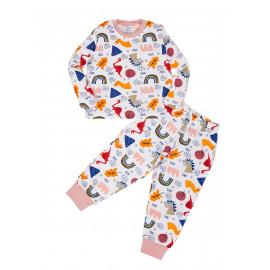 Пижама для мальчика теплая Land of the dinosaurs, белый/ динозавры