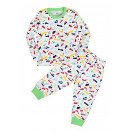 Пижама для мальчика теплая Машинки, белый