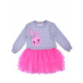 Платье для девочки с длинным рукавом и фатиновой юбкой Зайка, меланжевый/розовый