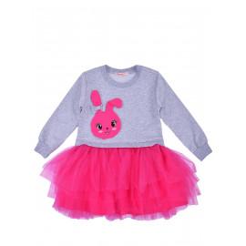 Платье для девочки с длинным рукавом и фатиновой юбкой Зайка, меланжевый/малиновый