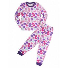 Пижама для девочки  теплая Сердечки, белый