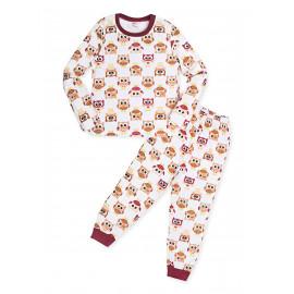 Пижама для девочки  теплая Совы, белый