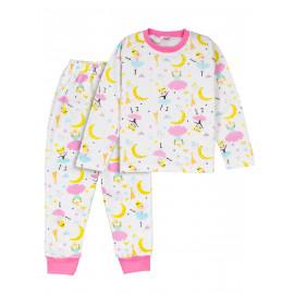 Пижама для девочки  теплая Moonlight ballet, белый/ балерины