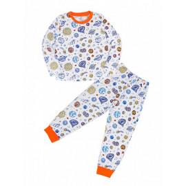 Пижама для мальчика теплая Космос, белый