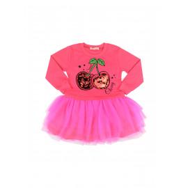 Платье для девочки с длинным рукавом и фатиновой юбкой Вишенки, малиново-красный