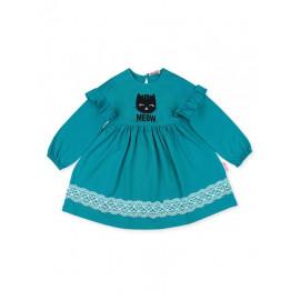 Платье для девочки Кошечка, изумрудный