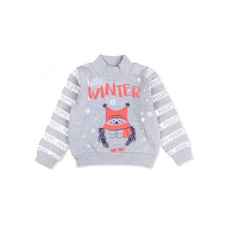 Джемпер для мальчика с начесом Зима, меланжевый