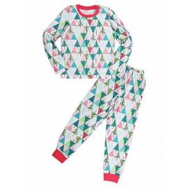 Пижама для девочки  теплая Елочки, белый