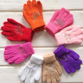 Перчатки детские однослойные Стразы р-р 3-5 лет, микс