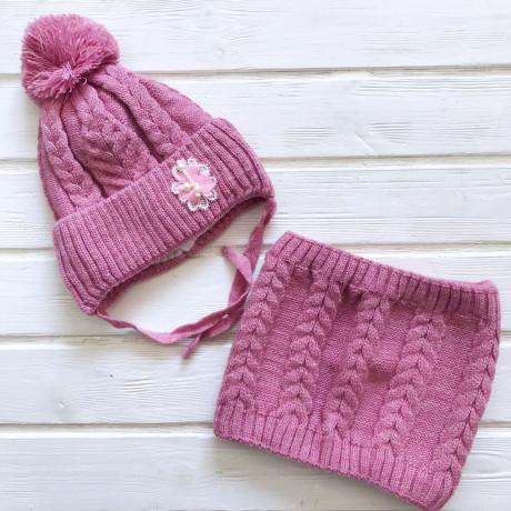 Комплект для девочки Шапка+Снуд, розовый